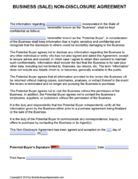 Free Business Sale Non Disclosure Agreement Nda Template Pdf Word