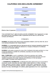 Free California Non Disclosure Agreement Nda Template
