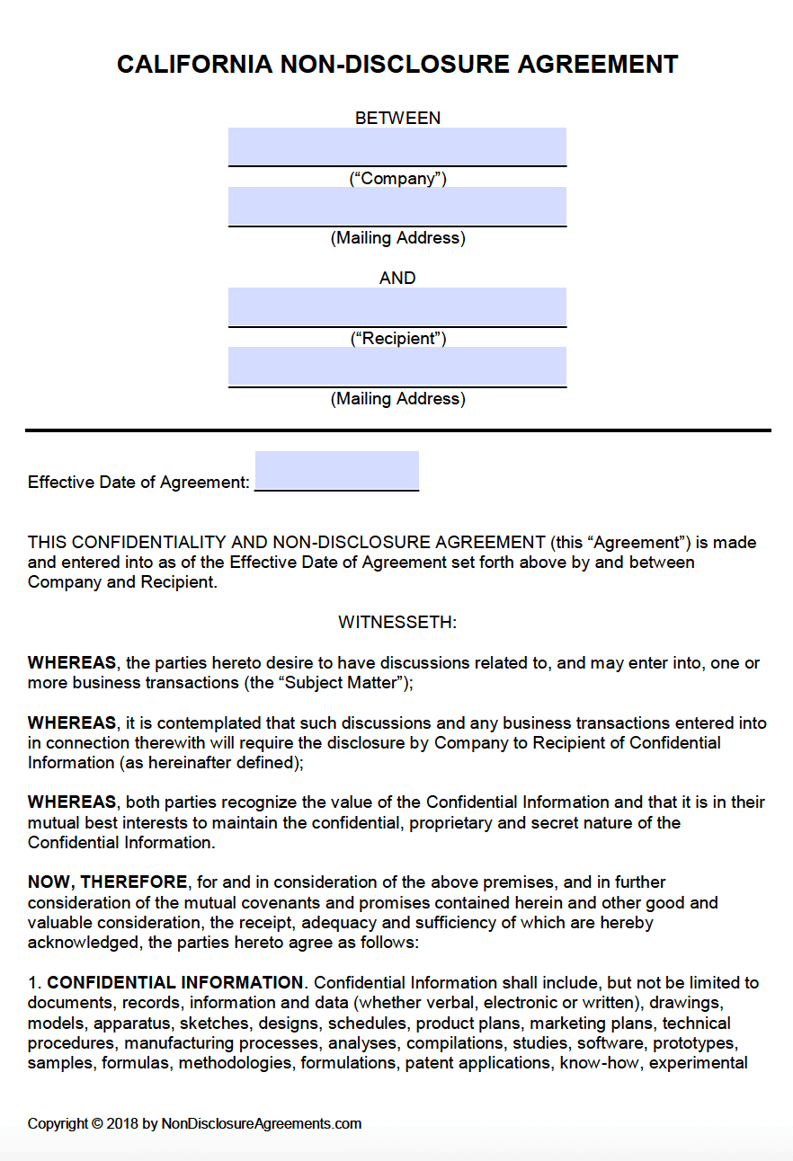 Free California Non Disclosure Agreement Nda Template Pdf Word