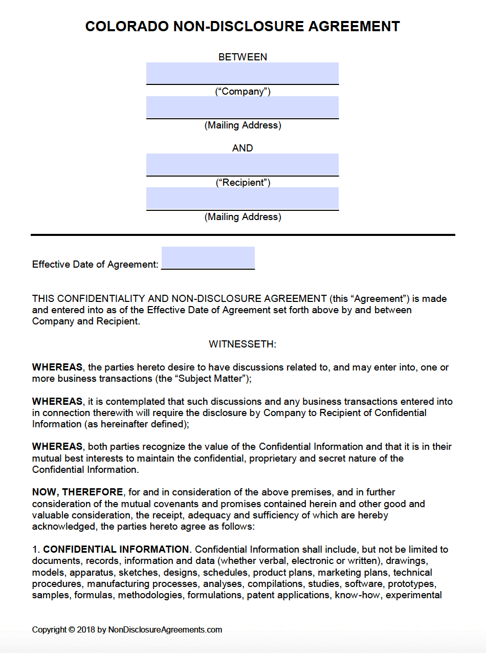 Free Colorado Non Disclosure Agreement Nda Template Pdf Word