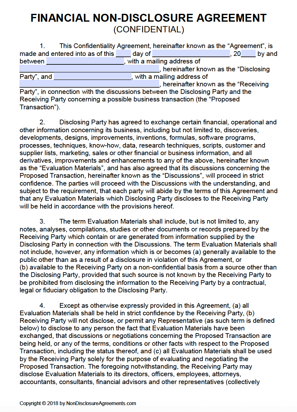 Free Financial Non Disclosure Agreement Nda Template Pdf