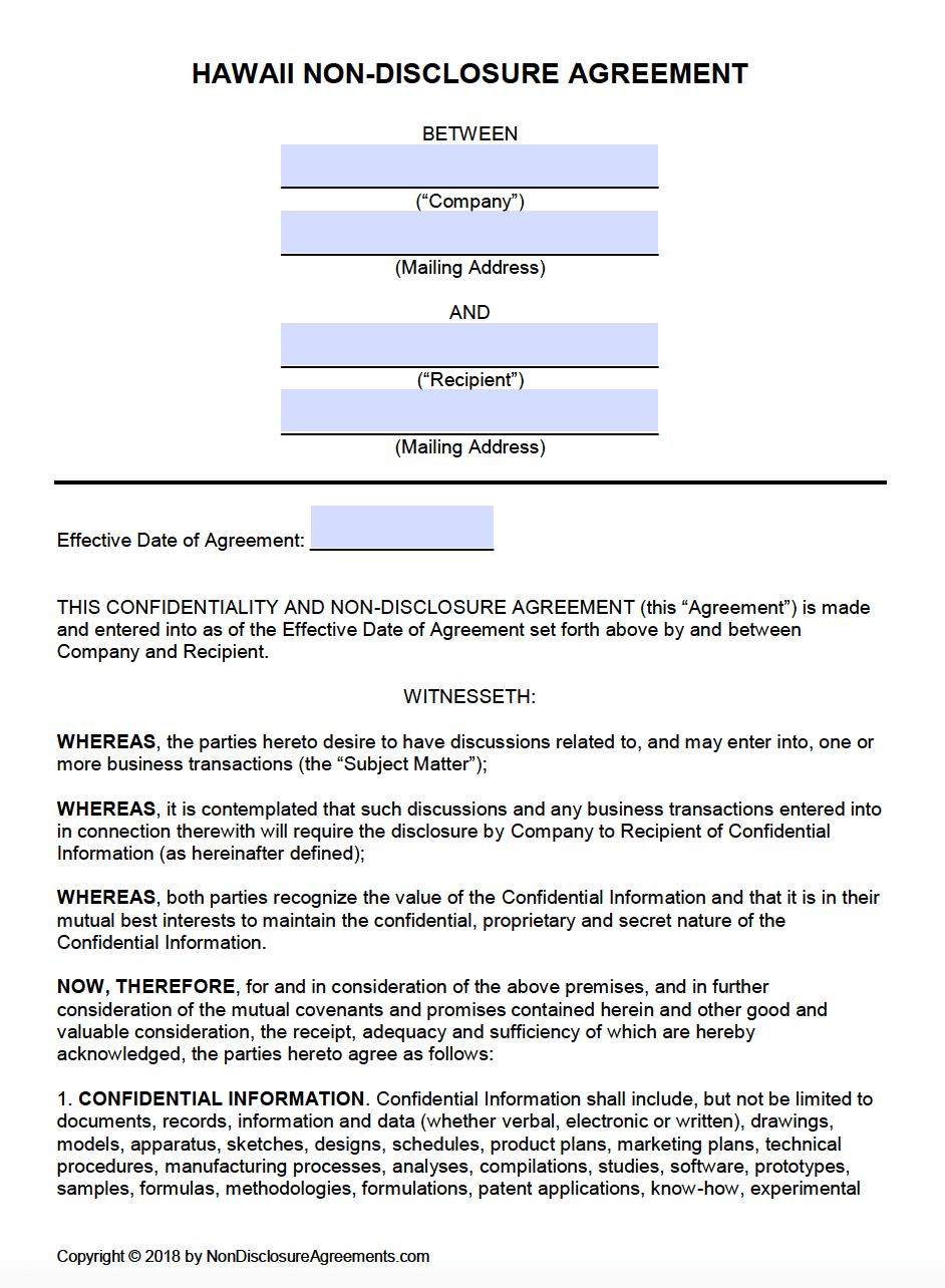 Free Hawaii Non-Disclosure Agreement (NDA) Template | PDF | Word