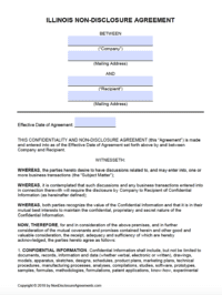Free Illinois Non Disclosure Agreement Nda Template Pdf Word