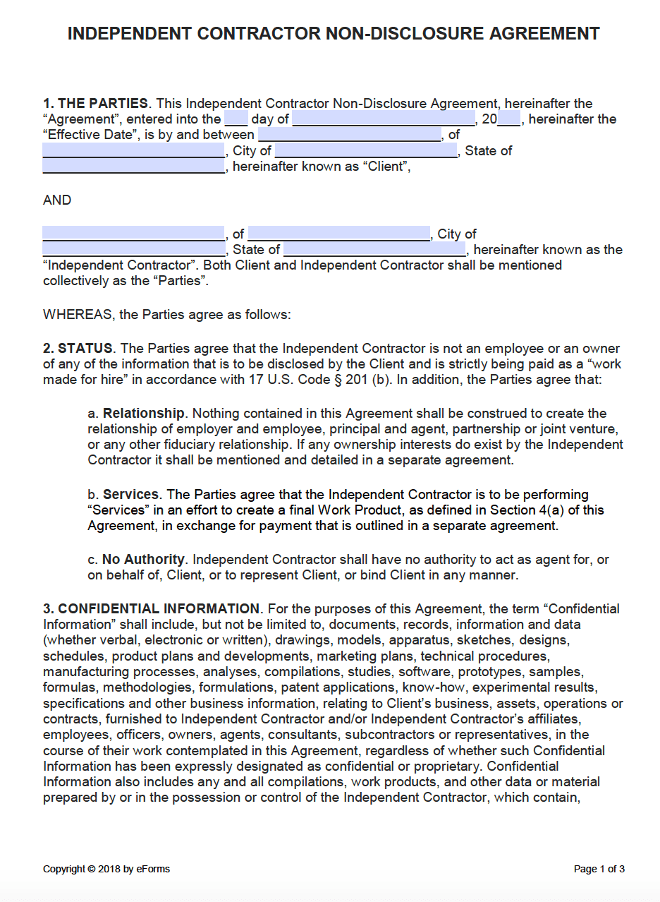 Free Independent Contractor NonDisclosure Agreement NDA Template - One page nda template