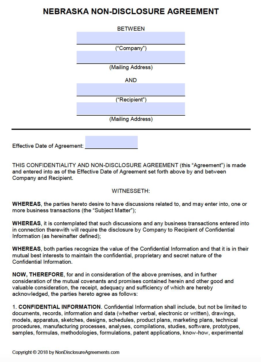 Free Nebraska Non Disclosure Agreement NDA Template