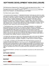 Free Software Development NonDisclosure Agreement NDA Template - Nda template software development
