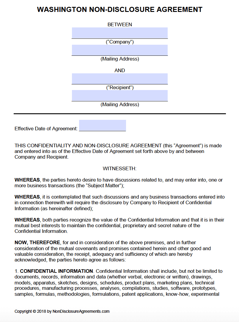 Free Washington Non Disclosure Agreement Nda Template Pdf Word