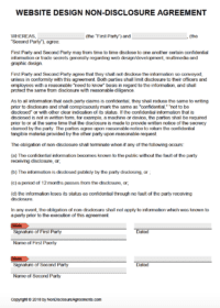 Free Website Design Non Disclosure Agreement Nda Template